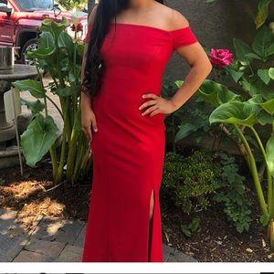 Ralph Lauren red off the shoulder dress.